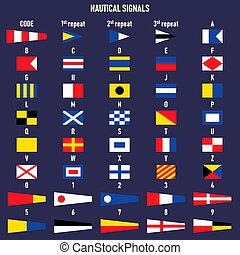 breven, signal, kust, numbers., internationell, flags.