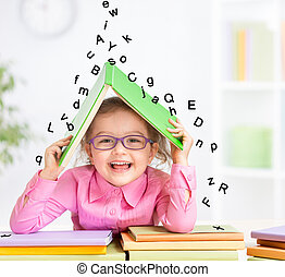 breven, tagande, tak, bok, smart, under, le, glasögon, stjärnfall, tillflykt, unge