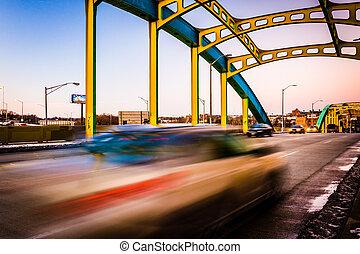bro, baltimore, howard, över, maryland., gata, gripande, trafik