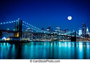 bro, brooklyn, stad, york, färsk