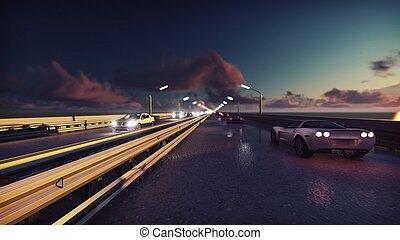 bro, lyse, bilar, sunrise., framförande, bakgrund, natt, gå, traffic., 3