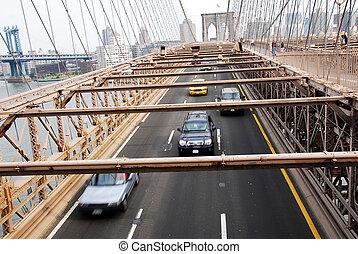 bro, trafik, brooklyn, gripande, york, under, färsk