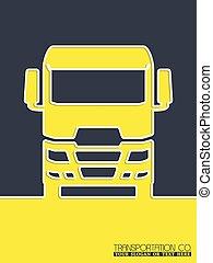 broschyr, lastbil, design, transport