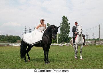 brud, häst, brudgum, sittande