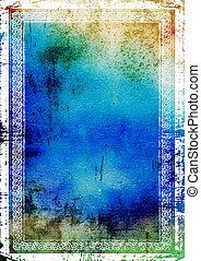 brun, blå, frame:, årgång, abstrakt, elegant, mönster, bakgrund, strukturerad, grön, gräns