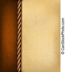 brun, gammal, illustration., årgång, leather., papper, vektor, bakgrund