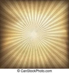 brun, illustration, eps10., bakgrund., vektor, retro, sunburst