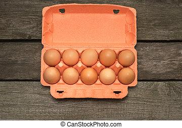 brun, organisk, trä, ägg, board., utsikt., kartong, topp