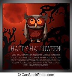 brun, sittande, träd, halloween, illustration, baner, vektor, kuslig, stor, branch., uggla