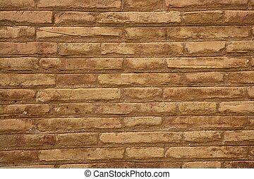 brun, vägg, färg, beige fond, tegelsten, grädde