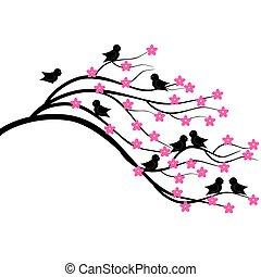 brunch, träd, fåglar