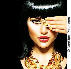 brunett, egyptisk, skönhet, woman., gyllene, tillbehör