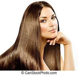 brunett, flicka, hair., isolerat, vacker, länge, rak, vit