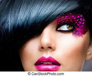 brunett, frisyr, mode, portrait., modell