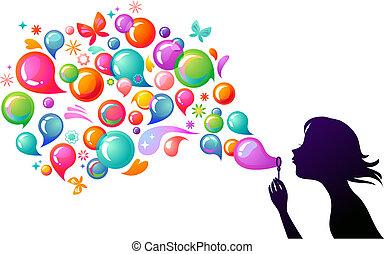bubblar, 2, -, tvål, blåsning