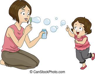 bubblar, blåsning