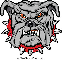 bulldogg, vektor, tecknad film, ansikte