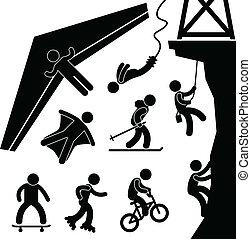 bungee, sport, häng segelflygplan, ytterlighet