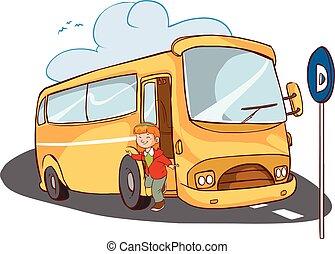 buss, flicka, vektor, illustration