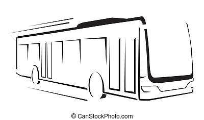 buss, illustration, symbol, vektor