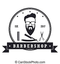 butik, barberare, baner, elements., årgång, etiketter, illustration, vektor, design, märken, emblems., logo