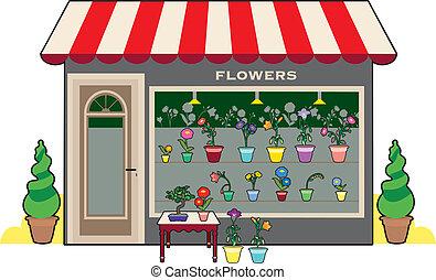 butik, blomma