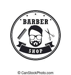 butik, design, baner, elements., årgång, etiketter, illustration, vektor, barberare, märken, emblems., hipster, logo