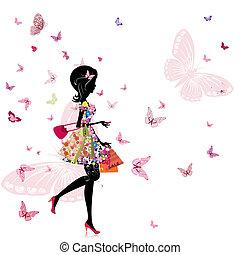 butik, flicka, blomma