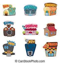 butik, ikonen, hus, /, kollektion, tecknad film