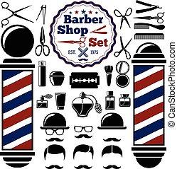 butik, pol, instrument, style., barberare, silhouettes, set., hairstyles., vektor, årgång, tillbehör