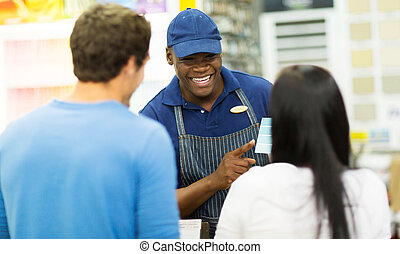 butik, portion, färg, assistent, par, sto, järnvaror, måla, välja