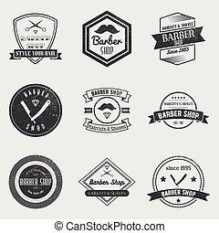 butik, sätta, elementara, årgång, etiketter, symboler, vektor, design, logo, barberare, style., märken