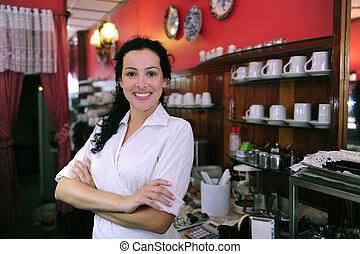 butik, stolt, tillitsfull, bakverk, cafe/, ägare