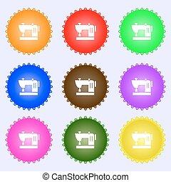 buttons., sätta, high-quality, stor, skylt., sömnad, färgrik, maskin, vektor, mångfaldig, ikon