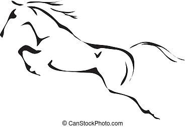 bygelhäst hoppande, vektor, svart, vit, grunddrag