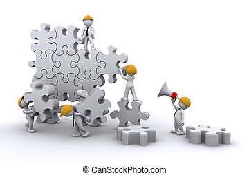 byggnad, affär, framkallning, concept., arbete, puzzle., lag