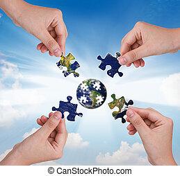 byggnad, begrepp, affär, problem, hand, klot