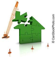 byggnad, hem, grön