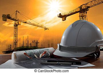 byggnad, hjälm, säkerhet, scen, pland, ved, arkitekt, fil, bord, konstruktion, solnedgång
