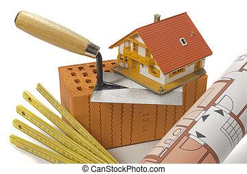 byggnad, hus, tegelsten, redskapen