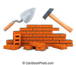byggnad, hus, verktyg, darby, isolerat, konstruktion, hammare