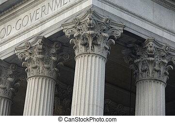 byggnad, korintiska spalter, regering