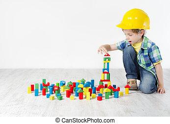 byggnad, pojke, begrepp, city., hårt, konstruktion, utveckling, blocks:, hatt, leka