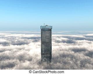 byggnad, resning, skyn, ovanför, kontor