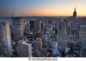 byggnad, stad, with., antenn, panorama, horisont, tillstånd, solnedgång, york, färsk, kejsardöme, manhattan, synhåll