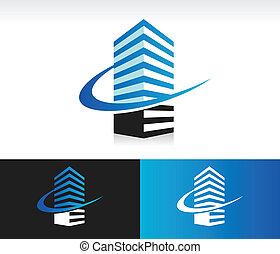 byggnad, swoosh, nymodig, ikon