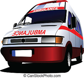 c, över, ambulans, nymodig, white., skåpbil