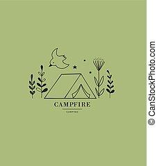 camping, hand, tält, oavgjord, icon., logo