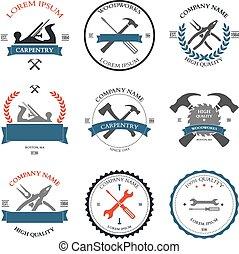 carpentry, design, årgång, redskapen, etiketter
