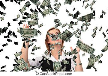 cathing, affär, dollars, stjärnfall, kvinna